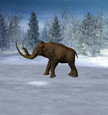 eiszeit: Mammoth in der Landschaft in der Eiszeit.