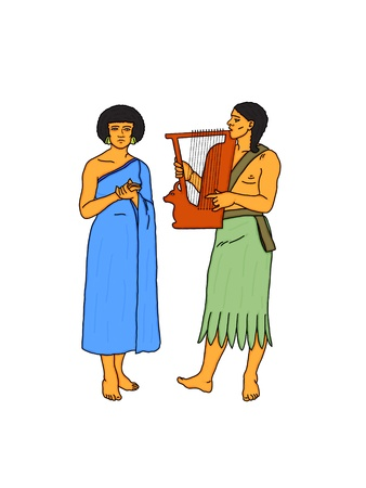 Young couple of Egyptian musicians photo