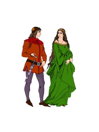Medieval couple talking about love photo