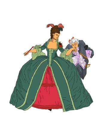 Victorian woman and man dancing photo