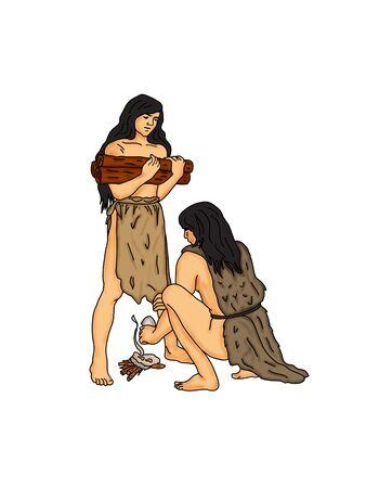 neolithic: El hombre tratando de encender el fuego