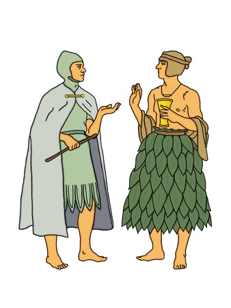 mongols: Two men with exotic clothes