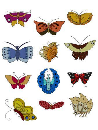 Set of twelve beauty butterflies hand drawing.