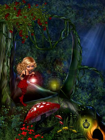 Fairy in the woods under the moonlight. Stock Photo