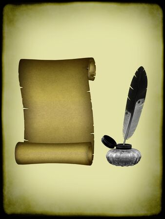 A parchment scroll and a ink bottle with feather pen.