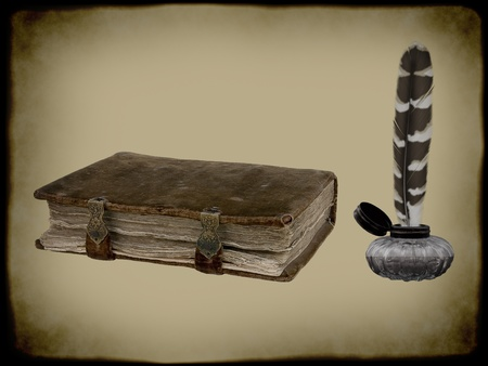 Old book and a ink bottle with feather pen.
