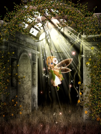 The little fairy flying under the moonlight.