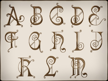 typeface: Brilliant latin letters on  background part 1.