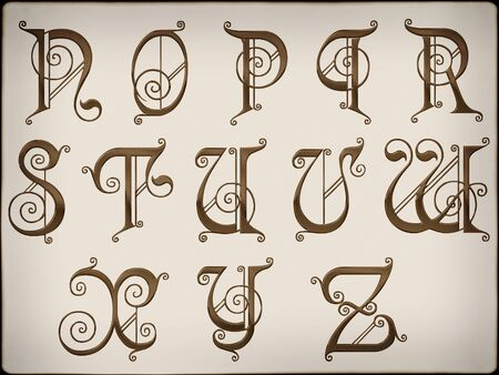 Brilliant latin letters on  background part 2. Stock Photo
