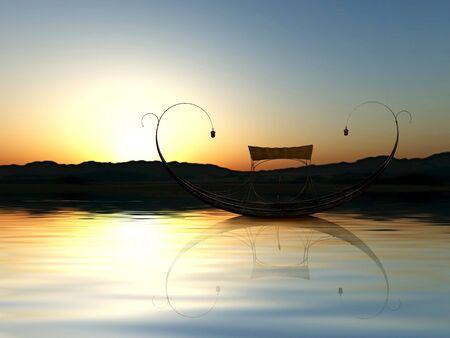 Sunset scene with gondola on the sea. Stock Photo