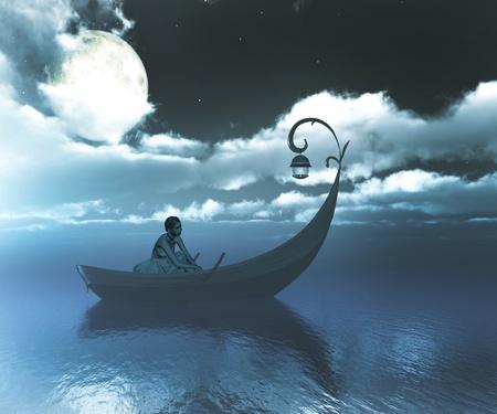 Girl on boat at midnight.
