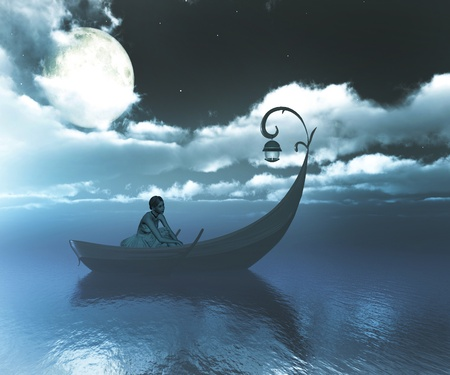 sea scenery: Girl on boat at midnight.
