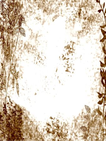 Floral design, grungy old and dirty brown background.  Stock Photo
