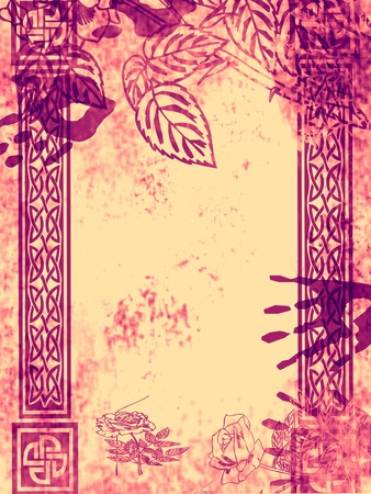 Floral design, grungy old and dirty red background.