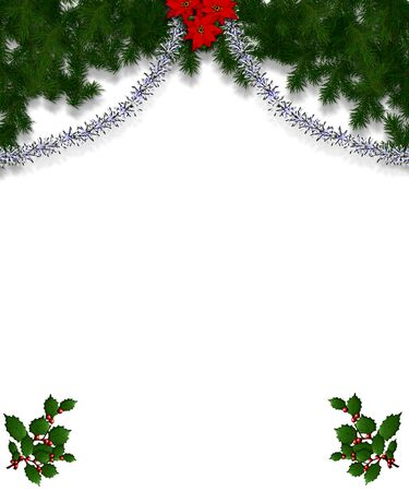 Christmas frame for greeting card with decorative ornaments. Stock Photo