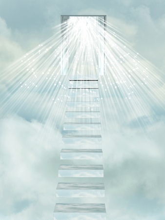holy angel: Ascending stairway to heaven through clouds.