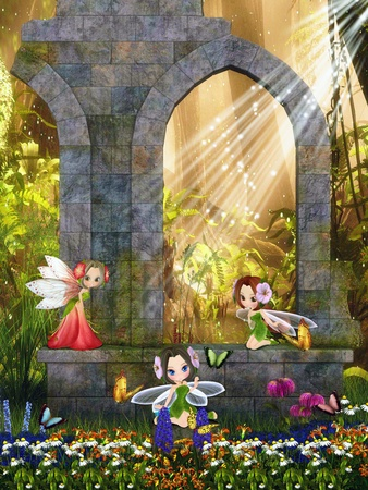 fairy garden: The little fairies playing in the ruins.