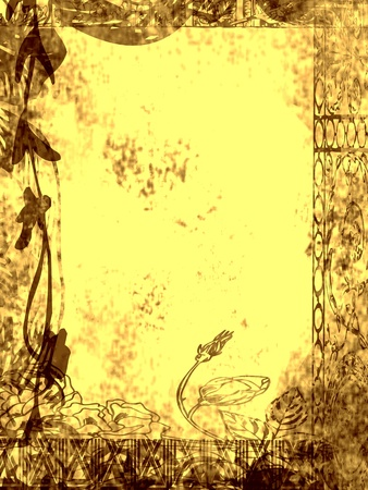 Floral design, grungy old and dirty yellow background.
