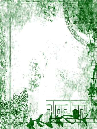 Floral design, grungy old and dirty green background.