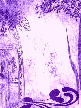 Floral design, grungy old and dirty violet background.