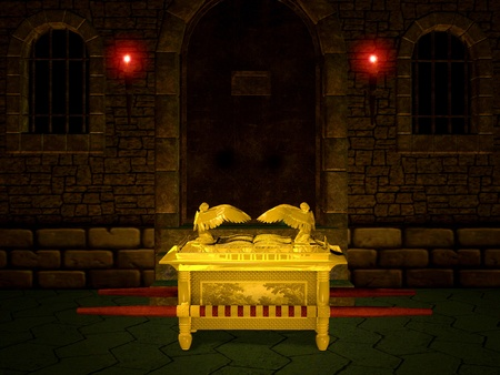 mercy: Ark of the Covenant from the Bible. Stock Photo