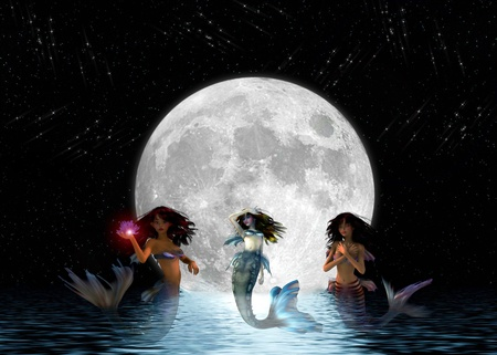 moon fish: Mermaids in the night with a big moon. Stock Photo