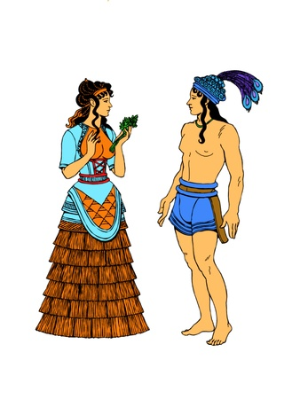 mongols: Ancient couple. Ancient couple with exotic clothes.
