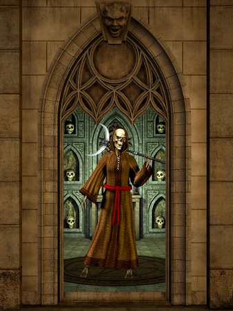 The guardian of the dark in the ritual temple.  Stock Photo