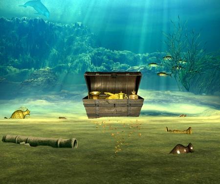 timon de barco: El cofre del tesoro con objetos valiosos bajo el agua.