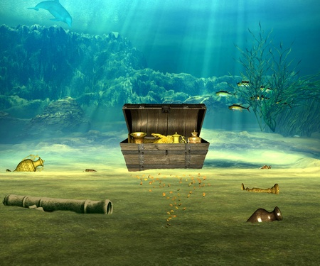 coin box: The treasure chest with valuable objects underwater. Stock Photo