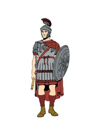 cascos romanos: El romano del siglo primero soldado con armadura. Foto de archivo