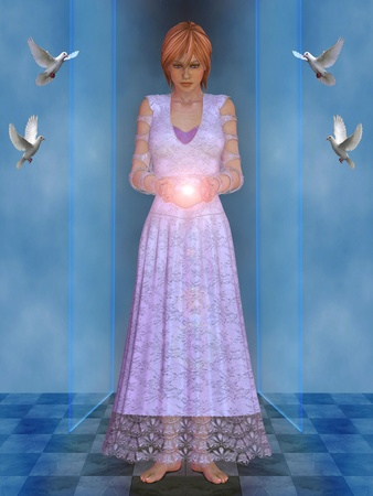 arcane: White witch with ball of light in his hands. Stock Photo