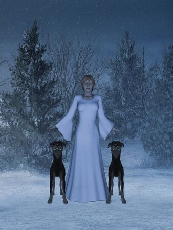 The girl in the snow with two dogs.