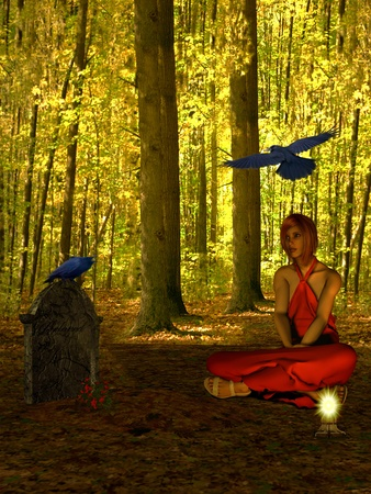 magic ball: The girl in the woods beside the tombstone.