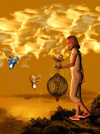 The girl with the fairies in the lake. Stock Photo