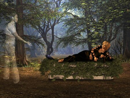 The girl in the woods lying on the tombstone. Stock Photo
