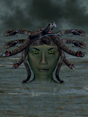 The mythological Medusa emerging from the water. Stock Photo