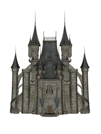 fairytale castle: Castle in 3d over a white background