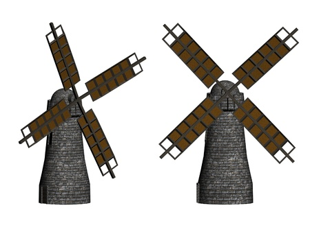 Windmills in 3d over a white background