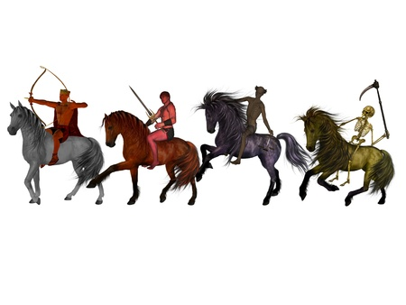 apocalypse: The Four Horsemen of the Apocalypse. Stock Photo
