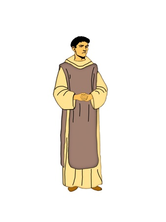 Illustration of a Cistercian monk on a white background  Stock Photo