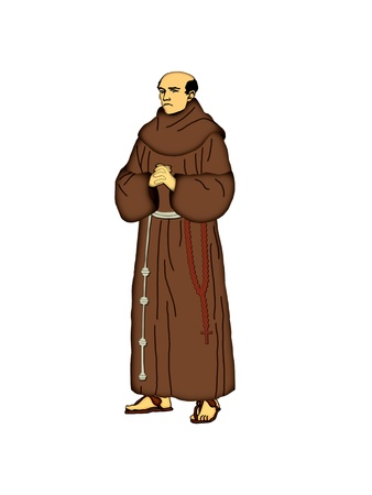 Illustration of a Franciscan friar on a white background