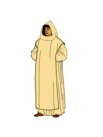 Illustration of a Carthusian monk on a white background  Stock Photo