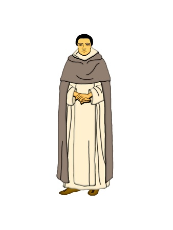 abbey: Illustration of a Dominican monk on a white background  Stock Photo