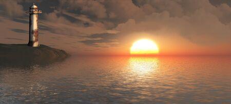 Landscape of sun on the horizon