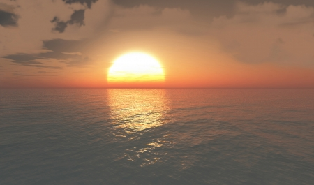 Landscape of sun on the horizon