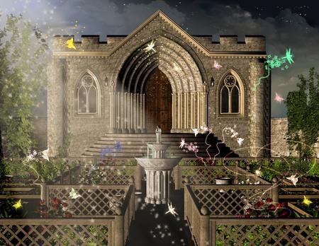 Illustration of midnight in the Magic Garden