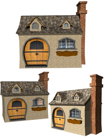 overlook: House on a white background Set of 3
