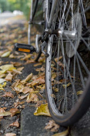 context: A bike in urban context. Stock Photo