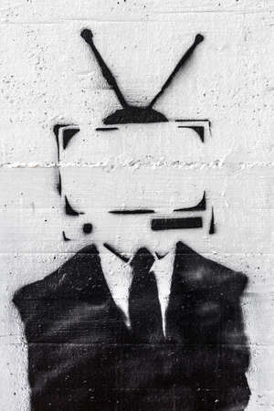 A representation of the mind control of the media on people. Zdjęcie Seryjne